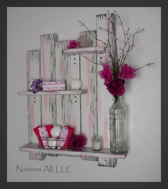 Bathroom Wall Shelf/Distressed White-Gray-Pink Blossom/Bathroom Wall Decor/Bathroom Decor/ Wall Shelf For Bathroom/Rustic Wood Shelving