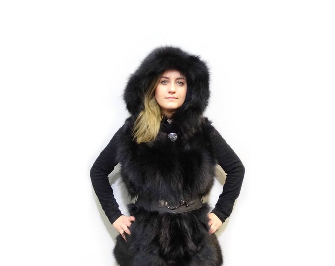 Black Hooded Vest, Fox Fur Vest F373