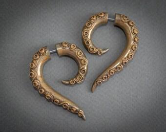 Festival Earrings, Tentacle Gauges, Ear Plugs, Fake Gauge Earrings, Steampunk Fake Plugs, Faux Gauges, Octopus Earrings, Goth Ear Gauges