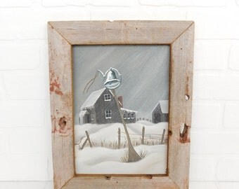 Vintage Barn Winter Scene Oil Painting in Barnwood Frame, Framed Farm Barn, Farmhouse Decor, Barn Wood