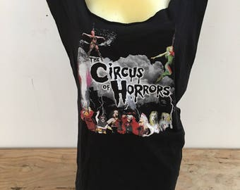 Customised Circus of Horrors tshirt. Slashed, cut, laced alternative gothic rocker