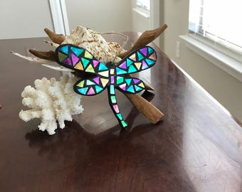 Stained Glass Mosaic Dragonfly, Stained Glass Ornament, Dragonfly, Stained Glass Dragonfly, Stained Glass Suncatcher, Christmas Ornament