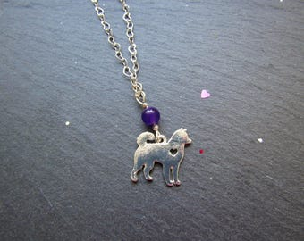 Japanese Dog and Russian Amethyst Necklace, Shiba Inu Necklace, Akita inu Necklace, Dog Jewellery, Kawaii Dog Necklace, Cute dog Necklace