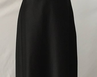 Vintage Susan Roselli for VIJACK Black Satin Long Maxi Dress sz 12 Embroidered Gold Flowers
