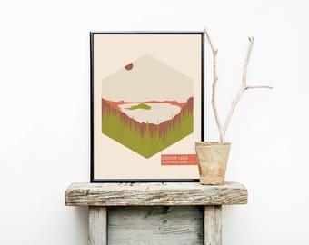 Crater Lake - National Park Poster - Lake House Decor - Nursery Decor - Oregon - Travel Poster - Minimalist Poster – Home Décor – Wall Art