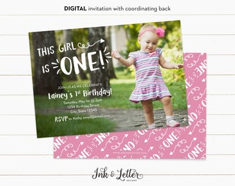 First Birthday Invitation for Girl - Photo Birthday Invitation - 1st Birthday Invitation - Custom Birthday Invites - Digital Invitations