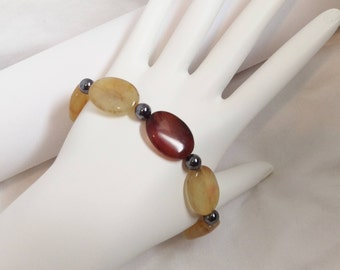 Hematite & SooCho Jade Bracelet, Beaded Bracelet, Stretch Bracelet, Bohemian, Natural Stone, Boho, Boho Chic, For Her, Wife, Girlfriend