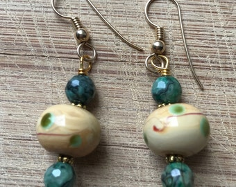 Picture Jasper Earrings, Jasper Earrings, Chinese Glass Earrings, Chinese Lampwork Earrings