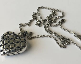 "Sterling silver heart necklace, 925 heart, vintage heart necklace, 18"" silver necklace"