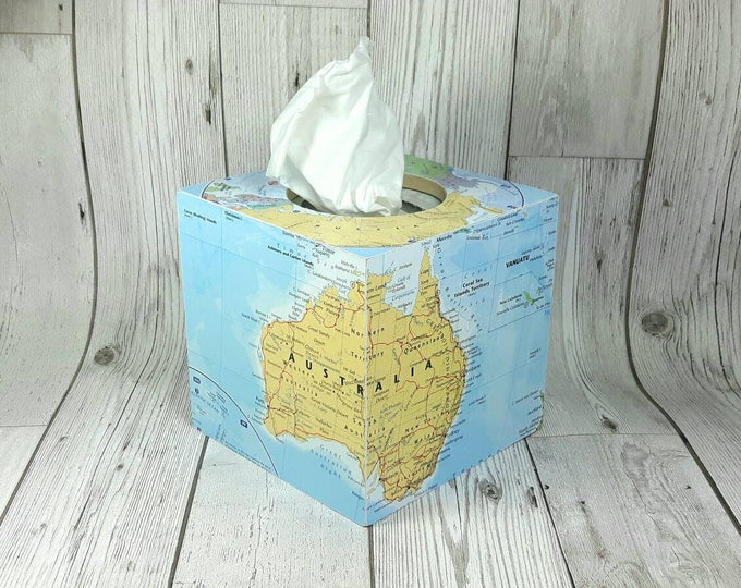 Featured listing image: Gorgeous Custom World Map Tissue Box Cover, made of wood, you choose your fav locations! Perfect as Birthday or Christmas Gifts