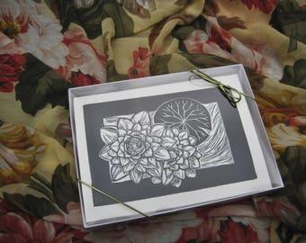 Set of 8 Block Print Nature Cards