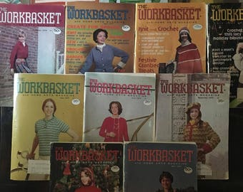 Woskbasket and Home Arts Magazine Lot, Vintage Magazines, Vintage Needlework Patterns, Crochet Patterns, Knitting Patterns, Tat Patterns