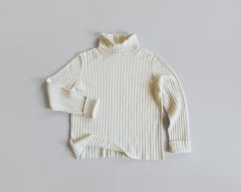 bone cashmere sweater / vintage soft ribbed turtleneck / womens S