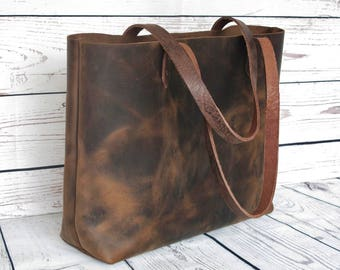 Distressed leather tote bag, leather purse, leather bag, leather shoulder bag, stylish tote bag, leather handbag