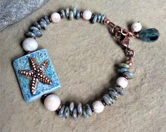 StarfishBracelet BeachJewelry SummerJewelry Gemstone FossilCoral CzechGlass BlueBracelet Handmade
