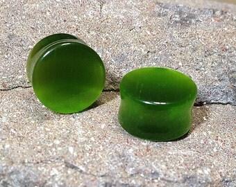 Pair of Green Cat's Eye Stone, Ear Plugs, Stone Plugs, Ear Stretching, Ear Stretchers