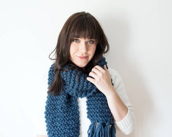 Knit Scarf Fringe Chunky Wool in *Denim* - The 'RIDEAU FRINGE' Large Oversized Blue Scarf