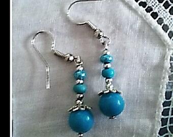 Turquoise blue earrings, blue earrings, turquoise dangles, silver earrings