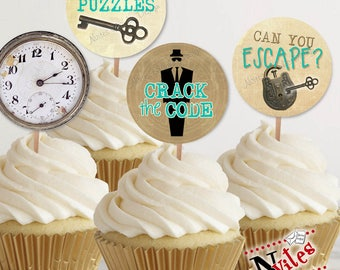 Escape Room Cupcake Toppers, Escape Room Tags, Escape Room Party, Escape Room Party Decor, Spy Party Cupcake, Teal Escape Room | PRINTABLE