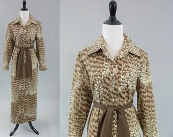 70s Models Coat Maxi Dress - Brown Feather Print Cotton - Snap Front House Coat - Lounging Hostess Gown - Vintage 1970s - M L