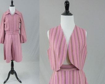 70s Striped Culottes - Dusty Pink w/Matching Jacket and Vest - Wide Leg Gauchos Split Skirt - Vintage 1970s - S M