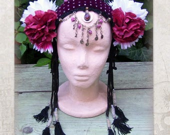 Tribal Fusion Costume Headdress, Flowers Headpiece, Tribal Belly Dance Headdress, ATS Tassels Headband, Gypsy Headdress, Tribal Headdress