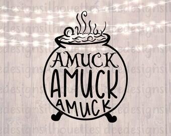 Hocus Pocus AMUCK cauldron SVG cut file