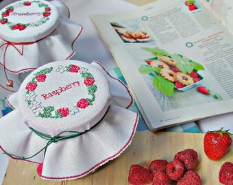 jam jar cover cross stitch raspberry jam tea cozy cottage kitchen decor handmade new home gift cross stitch berry wreath red berries decor