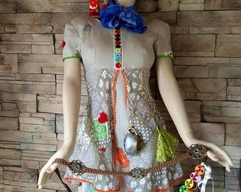 Mad hatter dress, Mad Hatter female  costume  ,Tim Burton inspired ,Spool belt and dress , cosplay  ,petite size ,Bandolier of spools,Alice