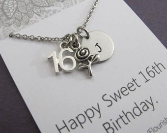 16th Birthday Personalized Initial Necklace-16th Birthday Gift-Sweet 16th Gift-Best Friend Gifts-Daughter Gifts-Handstamped