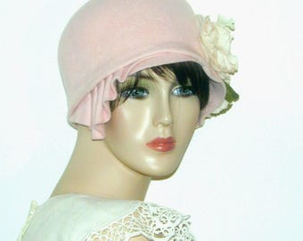 Miss Fisher Downton Abbey pink felted fur Gatsby cloche