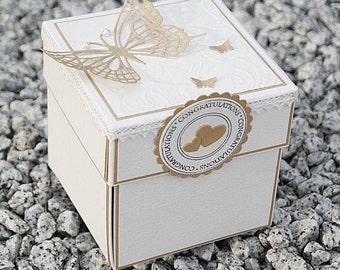 Boxed Wedding Invitation, Monochrome Wedding Invitations, Elegant Wedding Invite, Butterfies Wedding Invitation