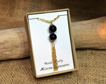 Gold tassel necklace, black beaded necklace, black necklace, gold necklace, tassel necklace, tassel chokers, Christmas gift, birthday gift