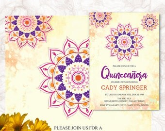 Printable Bollywood Invitation - Bohemian Party Invitation - Mandala Theme - For Any Event - Digital File | JESSIE