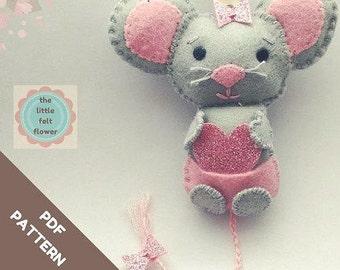 Felt Pattern- Felt-Mouse-Sewing Pattern Tutorial-Felt PDF Pattern-Decor-Felt Mouse Ornament-Felt Patterns-Decor pattern-DIY Gift