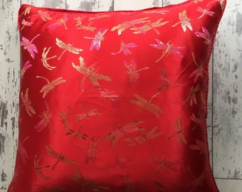 Red Damselfly Faux Silk Cushion Cover