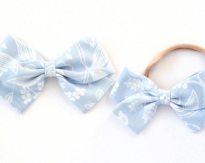 Pale Blue Bow - Rifle Paper Hair Bow for Girls - Les Fleurs