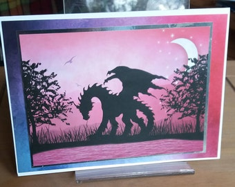 Greeting Card Dragon Silhouette