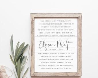 Wedding Song Print - First Dance Song - Wedding Song Lyrics - Song Lyric Art - First Anniversary Gift - Wedding Gift - Home Decor