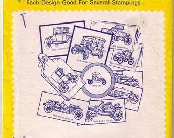 Aunt Martha's 3772 Antique Car Iron Transfer, Car Decor, Textile Car, Needlepoint, Clothing Transfer