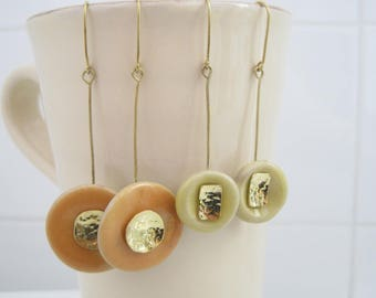 """Pottery button with brass earrings """"Bottoni"""""""