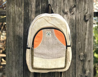 Handmade Super Pure Hemp backpack, Padded Laptop