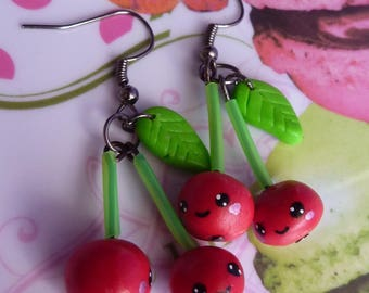 Cherry Red metal Platinum face kawaii Fimo polymer clay earrings