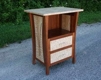 """Modern Nightstand With Drawers And Inlay, Solid Wood, Bedside Table, Side Table, """"Rushes"""""""