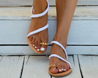 Leather Sandals, Bridal Sandals, White Sandals, Wedding Sandals, Gladiator Sandals, Made in Greece by Christina Christi Jewels.