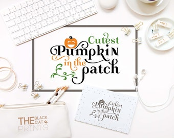 Halloween SVG cuttable file Cricut svg cutting file Kids svg design Pumpkin svg file Fall svg Iron on files Cutest pumpkin in the patch svg