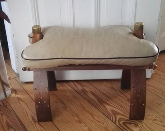 Vintage camel stool from camel saddle, leather, wood, brass, home decor, unique foot stool, unique piece, switch decor, very good condition