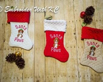 Monogrammed Pet Christmas Stocking, Personalized Dog Stocking, Beagle Dog Stocking, Customized Dog Stocking, Rescue Dog Stocking, Pet XMAS