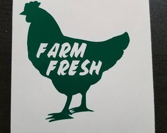 Chicken Decal~Farm Fresh Decal~Mother Clucker~perm vinyl~Use for coffee mugs, signs, chicken kitchen decor, Yeti & Rtic tumbler cups, etc.