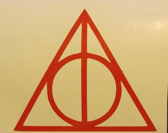 Harry Potter Deathly Hallows triangle Decal - permanent vinyl - perfect for Yeti & Rtic cups, dorm room door, laptops, etc.